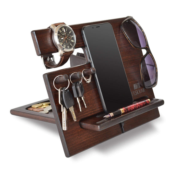 Order now wood phone docking station cherry dark hooks key holder wallet stand watch organizer men gift husband wife anniversary dad birthday nightstand purse tablet father graduation male travel idea gadgets