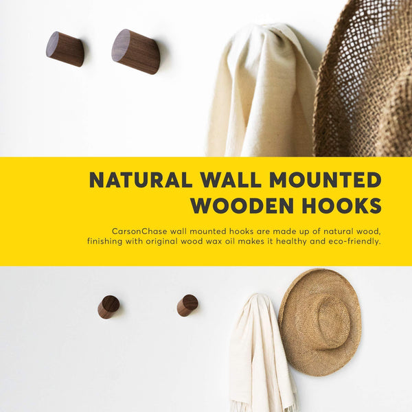 Exclusive black walnut wooden wall mounted coat hooks 6 pack bonus of 3 key hooks towel or hat rack keychain hooks hooks for hanging hats caps headphones jackets purses a kitchen wall organizer
