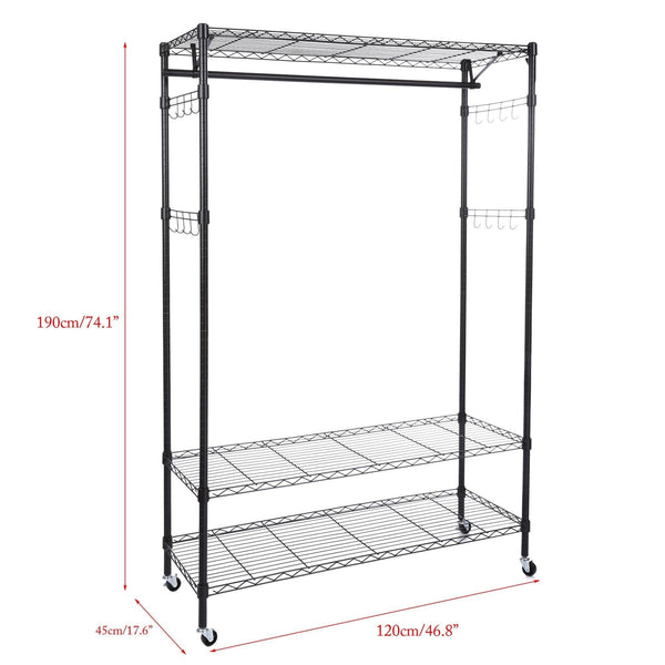 Organize with homdox 3 tiers big size heavy duty wire shelving unit garment rack with hanger bar wheels 2 pair side hooks black