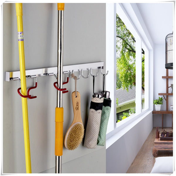 Explore cavoli mop and broom organizer wall mounted 4 adjustable holder and 3 hooks storage solutions for broom holders metal and easy clean