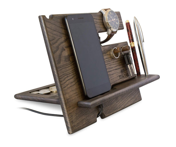 Great wood phone docking station ash key hooks holder wallet stand watch organizer men gift husband anniversary dad birthday nightstand purse tablet boyfriend father graduation male travel idea gadgets