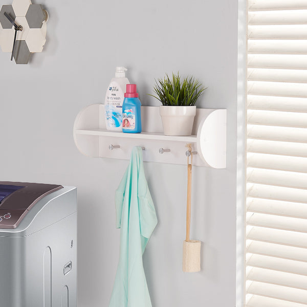 Explore danya b white utility shelf with four large stainless steel hooks