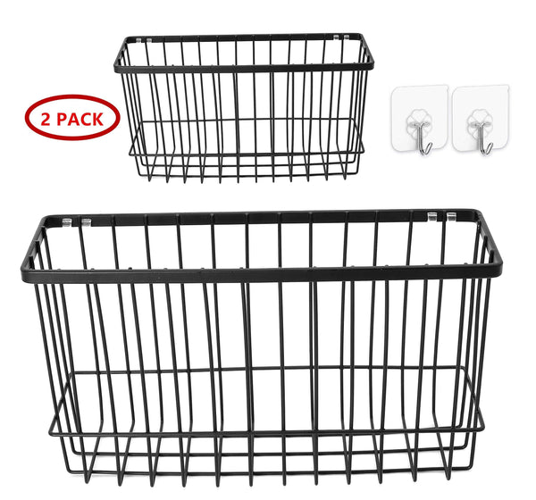 Organize with over the cabinet door organizer holder einfagood over the cabinet basket with adhesive pads and 2 adhesive hooks black coat 2 pack 1 door basket