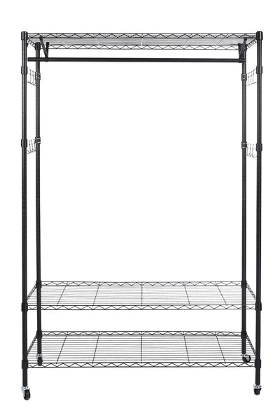 Order now homdox 3 tiers big size heavy duty wire shelving unit garment rack with hanger bar wheels 2 pair side hooks black