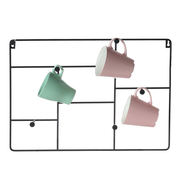 Latest mygift modern wall mounted 6 hook metal mug cup rack