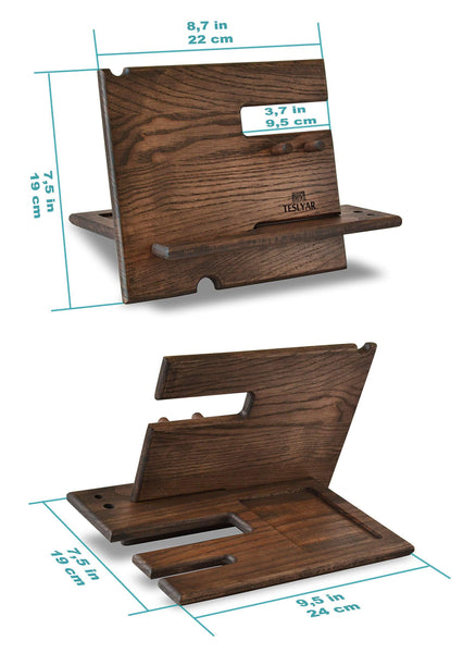 Home wood phone docking station ash key hooks holder wallet stand watch organizer men gift husband anniversary dad birthday nightstand purse tablet boyfriend father graduation male travel idea gadgets