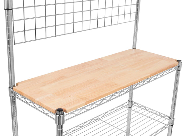 Buy now internets best 3 tier bakers rack chrome kitchen storage shelving adjustable wire stand with removable cutting board and 6 hanging hooks