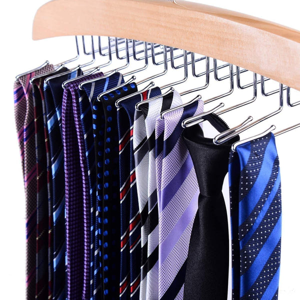 Storage ohuhu wooden tie hanger rotating twirl 24 ties organizer rack hanger holder hook 2 pack