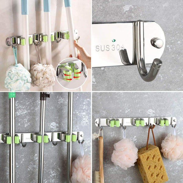 Kitchen joyhill mop and broom holder wall mount stainless steel broom organizer self adhesive garden tool hangers 3 position 4 hooks