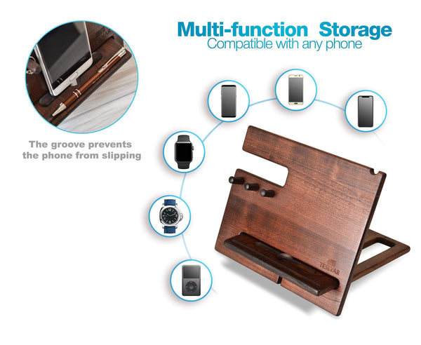 Products wood phone docking station cherry dark hooks key holder wallet stand watch organizer men gift husband wife anniversary dad birthday nightstand purse tablet father graduation male travel idea gadgets
