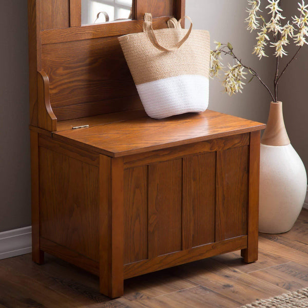 Try wooden entryway tall hall tree bench coat and hat rack with mirror in oak finish with 2 double hooks in antique bronze storage bench base and a full length central mirror