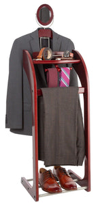 Order now storagemaid clothes valet stand with mirror beautiful solid mahogany hardwood wardrobe valet stand for clothes with trouser bar jacket hanger tray organizer tie belt hook and shoe rack