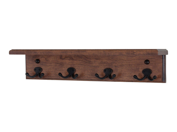 Latest pegandrail solid cherry shelf coat rack with aged bronze double style hooks made in the usa natural 53 with 10 hooks