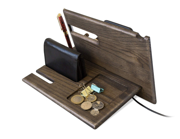 Explore wood phone docking station ash key hooks holder wallet stand watch organizer men gift husband anniversary dad birthday nightstand purse tablet boyfriend father graduation male travel idea gadgets