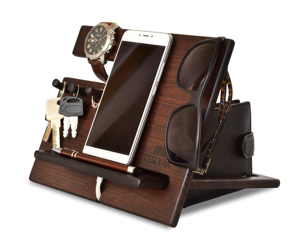 Online shopping wood phone docking station cherry dark hooks key holder wallet stand watch organizer men gift husband wife anniversary dad birthday nightstand purse tablet father graduation male travel idea gadgets