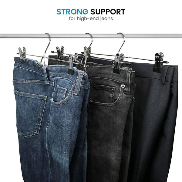 Discover the heavy duty add on skirt hangers with clips 12 pack multi stackable add on hangers adjustable clip pants hanger skirt hanger with clips chrome hook cascading clip hanger jeans slacks bottoms