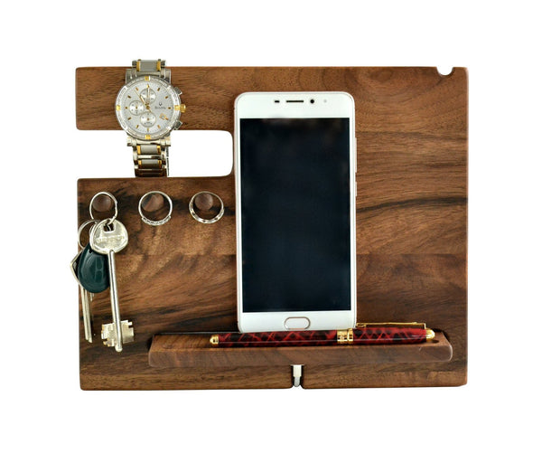 Select nice wood phone docking station walnut desk organizer tablet holder key hooks coin wallet watch stand handmade men graduation gift husband anniversary dad birthday idea nightstand for him gadget