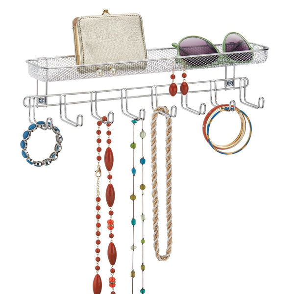 Organize with mdesign closet wall mount accessory organizer for storage of ties belts watches glasses accessories 8 hooks 1 basket pack of 2 chrome