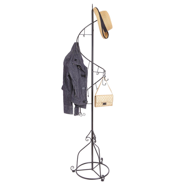 Organize with mygift elegant black metal 14 hook spiral coat hanger bag display garment rack stand