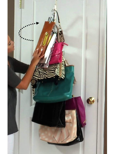 Discover the best boottique 2 pk over door hanging purse storage durable holds 50 pounds rotates 360 for easy access purses handbags satchels crossovers backpacks 12 hooks chrome set of 2