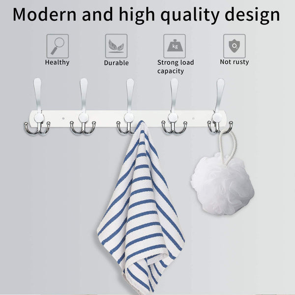 Kitchen wall mounted coat hook rack 2 pack 30 hooks stainless steel coat hangers rack robe hat hooks with sticker