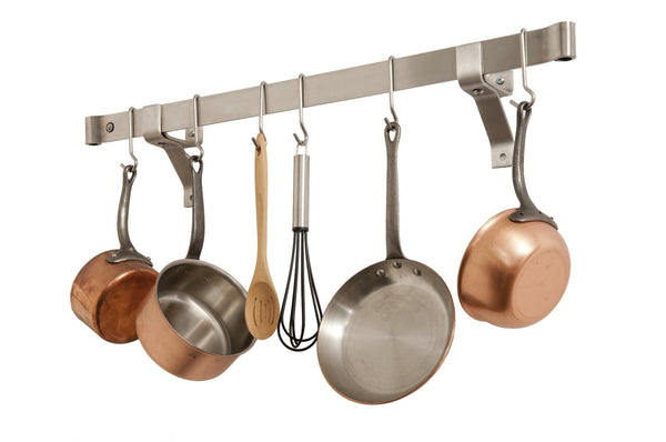 Shop here enclume premier 48 inch rolled end bar wall or ceiling pot rack use with wall brackets or captain hooks stainless steel