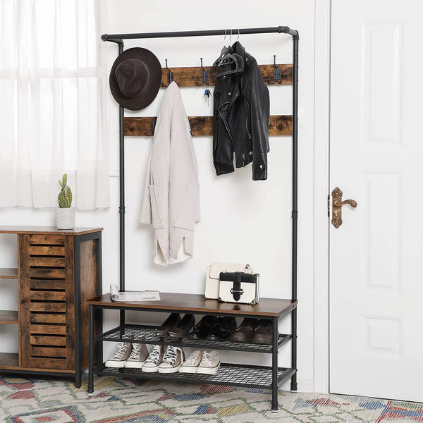Shop vasagle industrial coat rack with storage bench pipe style large hat and coat stand with 9 hooks and shoe rack multifunctional hall tree sturdy iron frame uhsr47bx