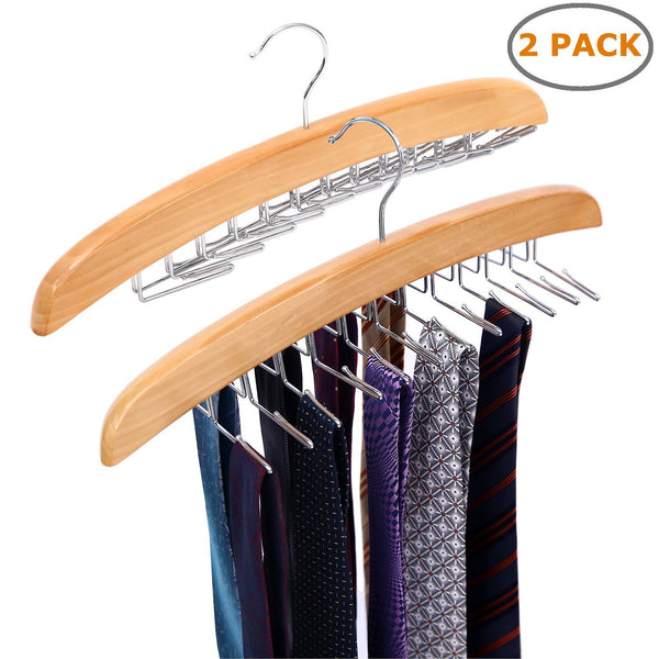 Storage organizer ohuhu wooden tie hanger rotating twirl 24 ties organizer rack hanger holder hook 2 pack
