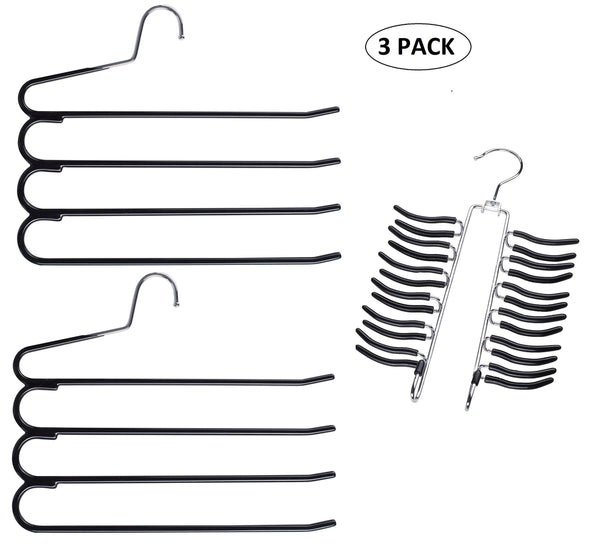 Top rated frank pressie 2 pcs pants hangers space saving clothes organizer skirts stainless steel non slip black rubber 4 tier and tie hanger hook belt rack multi layered open ended 24 bar