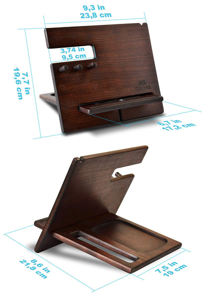 Results wood phone docking station cherry dark hooks key holder wallet stand watch organizer men gift husband wife anniversary dad birthday nightstand purse tablet father graduation male travel idea gadgets