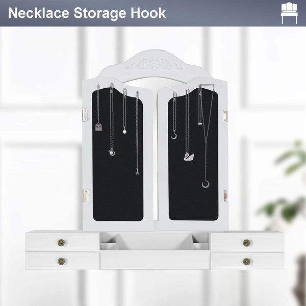 Storage organizer vanity beauty station large tri folding necklace hooked mirrors 6 organization 7 drawers makeup dress table with cushioned stool set white