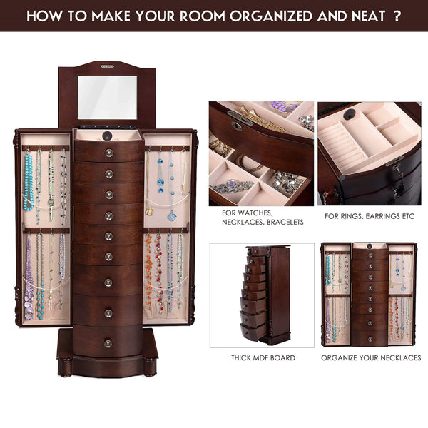 Related giantex large jewelry armoire cabinet with 8 drawers 2 swing doors 16 hooks top mirror boxes standing cambered front storage chest stand large standing jewelry armoire dark walnut