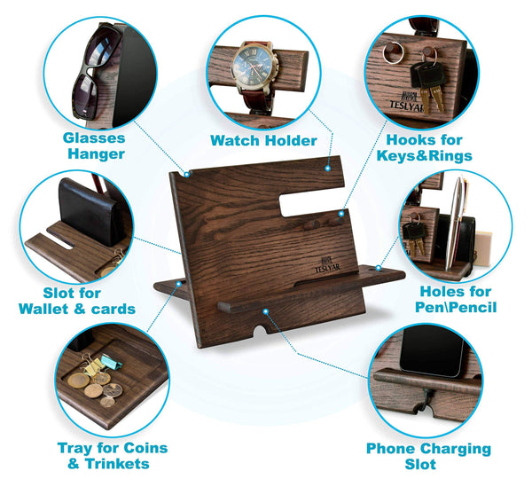 Heavy duty wood phone docking station ash key hooks holder wallet stand watch organizer men gift husband anniversary dad birthday nightstand purse tablet boyfriend father graduation male travel idea gadgets