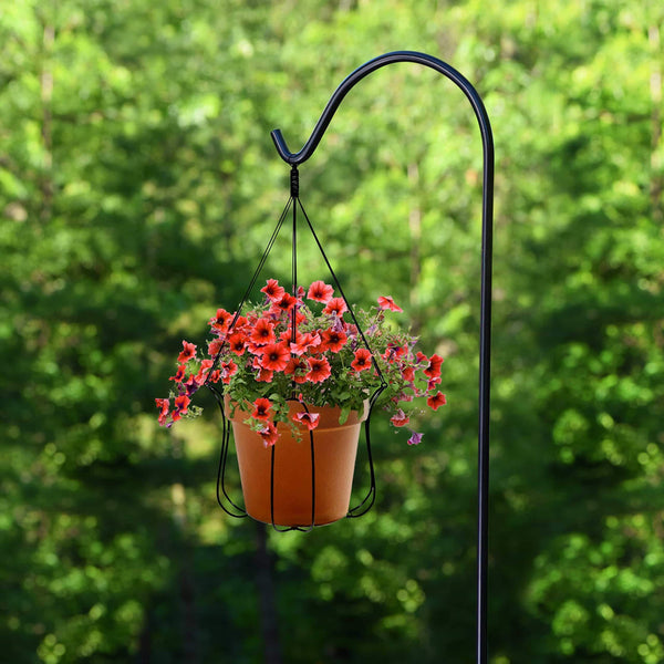 Amazon ashman black shepherd hook 92 inch 15mm thick super strong rust resistant steel hook ideal for hanging heavy plant baskets bird feeders solar lights lanterns flower pots