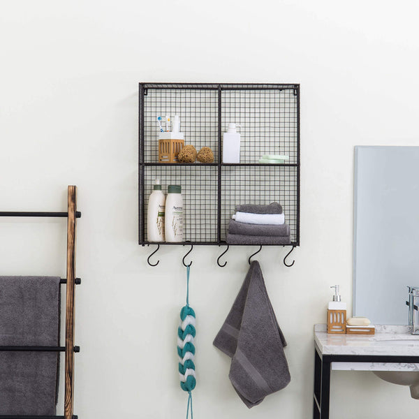 Latest mygift wall mounted brown metal wire 4 compartment storage rack with 5 s hooks