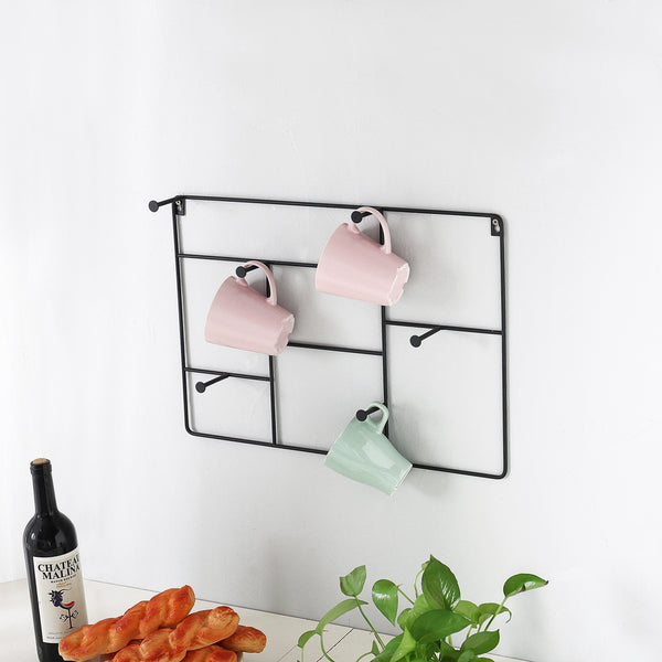 Online shopping mygift modern wall mounted 6 hook metal mug cup rack