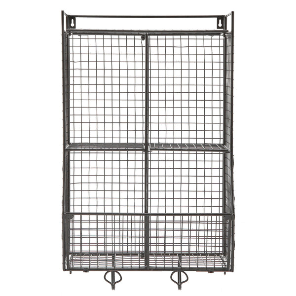 Explore wall mounted collapsible black metal wire mesh storage basket shelf organizer rack w 2 hanging hooks