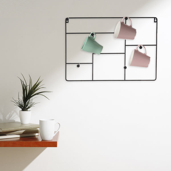 On amazon mygift modern wall mounted 6 hook metal mug cup rack