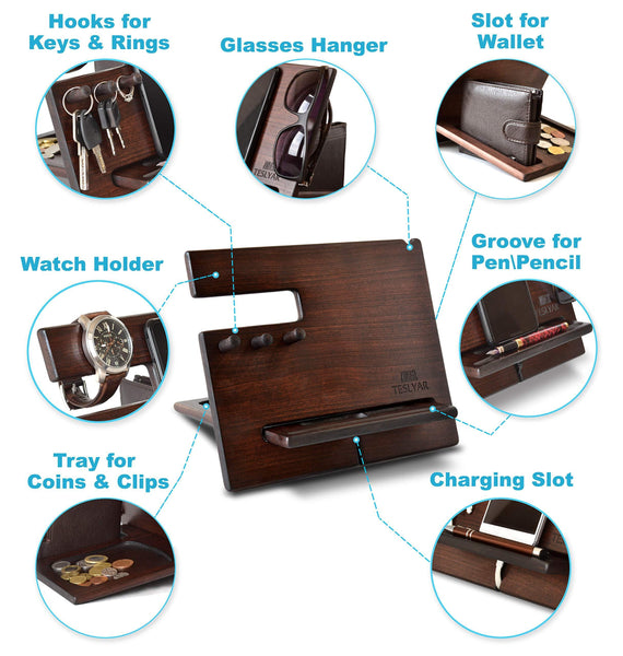 Purchase wood phone docking station cherry dark hooks key holder wallet stand watch organizer men gift husband wife anniversary dad birthday nightstand purse tablet father graduation male travel idea gadgets