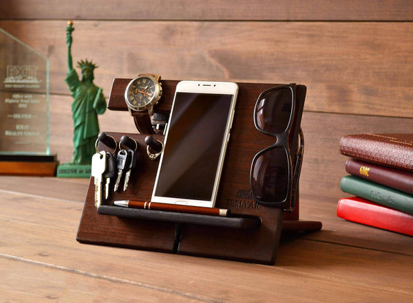 Related wood phone docking station cherry dark hooks key holder wallet stand watch organizer men gift husband wife anniversary dad birthday nightstand purse tablet father graduation male travel idea gadgets