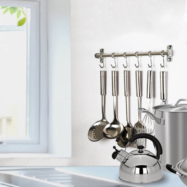 Home webi kitchen sliding hooks solid stainless steel hanging rack rail with 14 utensil removable s hooks for towel pot pan spoon loofah bathrobe wall mounted 2 packs