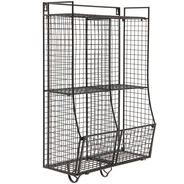 Featured wall mounted collapsible black metal wire mesh storage basket shelf organizer rack w 2 hanging hooks
