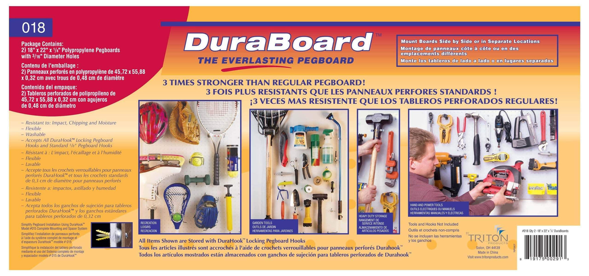 Storage triton products 018 kit duraboard 2 22 inch w x 18 inch h x 1 8 inch d white polypropylene pegboards with 22 pc durahook assortment and wall mounting hardware