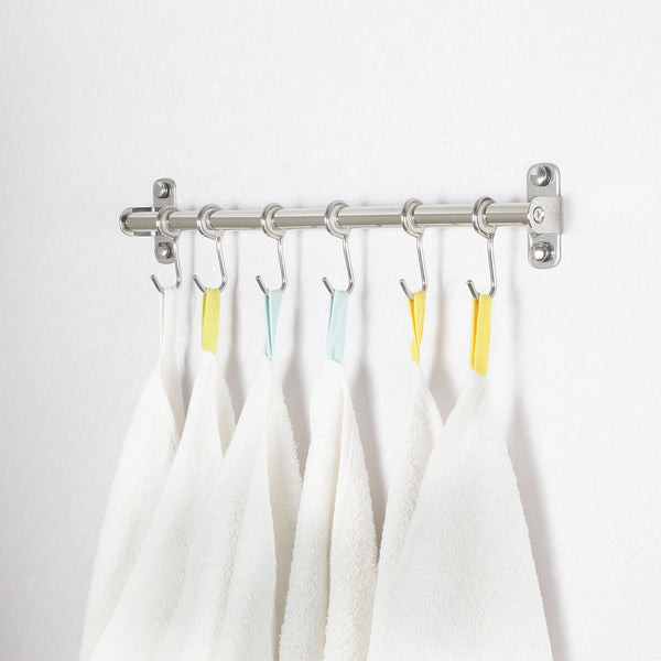 Heavy duty webi kitchen sliding hooks solid stainless steel hanging rack rail with 14 utensil removable s hooks for towel pot pan spoon loofah bathrobe wall mounted 2 packs