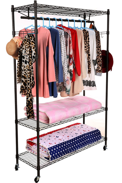 Purchase homdox 3 tiers big size heavy duty wire shelving unit garment rack with hanger bar wheels 2 pair side hooks black