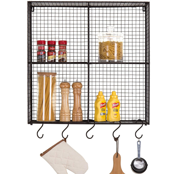 Home mygift wall mounted brown metal wire 4 compartment storage rack with 5 s hooks