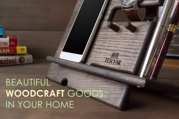 Featured wood phone docking station ash key hooks holder wallet stand watch organizer men gift husband anniversary dad birthday nightstand purse tablet boyfriend father graduation male travel idea gadgets