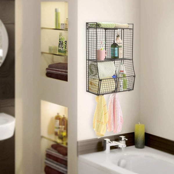 Heavy duty wall mounted collapsible black metal wire mesh storage basket shelf organizer rack w 2 hanging hooks