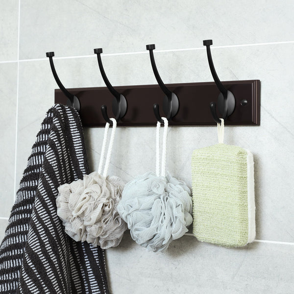 Shop for songmics wooden wall mounted coat rack 16 inch rail with 4 metal hooks for entryway bathroom closet room dark brown ulhr20z