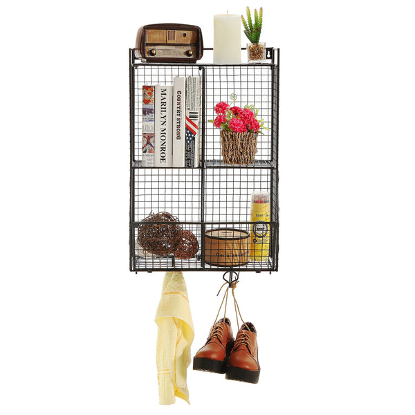 Great wall mounted collapsible black metal wire mesh storage basket shelf organizer rack w 2 hanging hooks